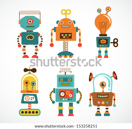 Set of cute vintage robots - stock vector