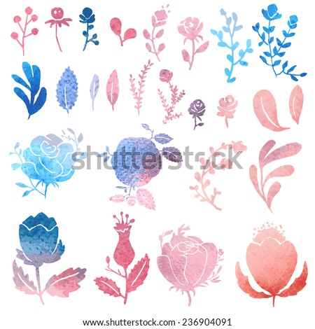 Set of cute watercolor hand-drawn nature clip-art, isolated. Wedding, birthday, celebration card elements. - stock vector