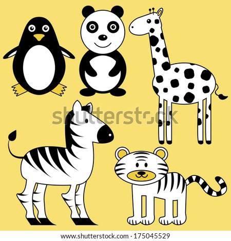 Set of cute wild black and white animals - stock vector