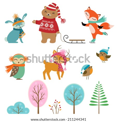 Set of cute winter animals and trees for your design. - stock vector