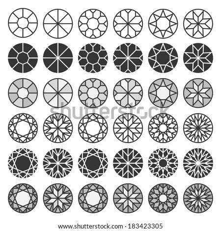 Set of cutting samples, diamonds, gemstones design elements - stock vector