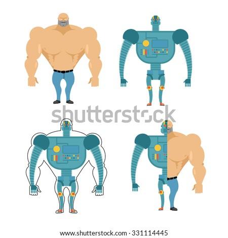 Set of Cyborgs. Robot in human body. Iron, metal skeleton of man. Human body in future. Bionic Artificial intelligence. - stock vector