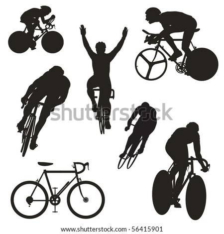 set of cyclist silhouettes