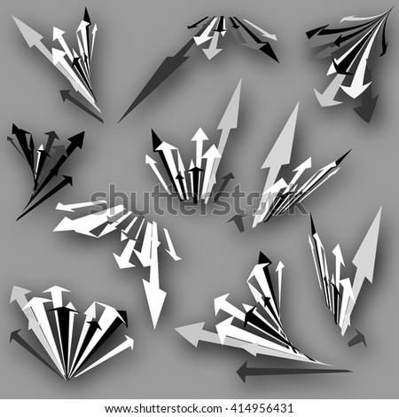 set of 3d arrows - stock vector