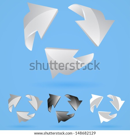 Set of 3D arrows. in black and gray colors. EPS 10 - stock vector