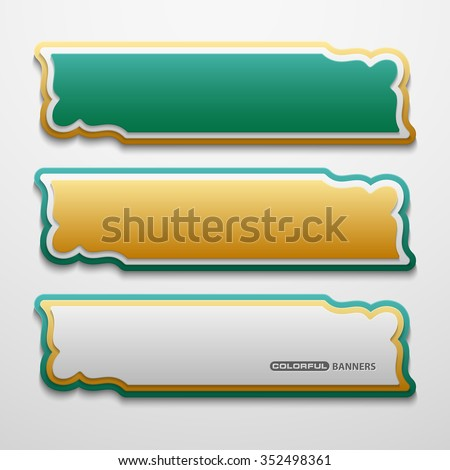 Set of 3d banners template with Islamic design - stock vector