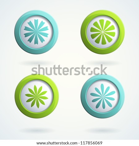 Set of 3d buttons with flowers. Vector  illustration. - stock vector