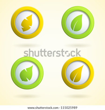 Set of 3d buttons with leaves. Vector  illustration. - stock vector