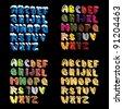set of 3d cartoon hand lettered alphabeth - stock vector