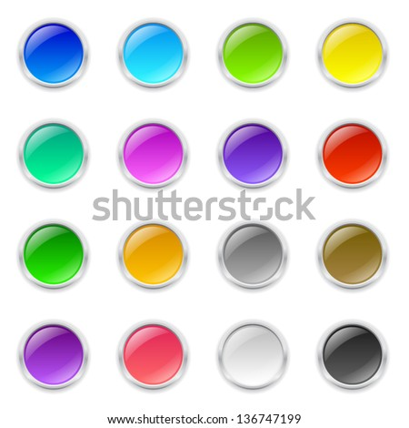 Set of 3d colored round buttons with metal frame and shadow - stock vector