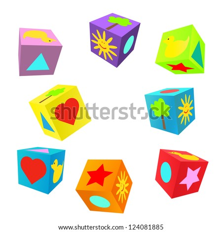 Set of 3D colorful childish play cubes - stock vector