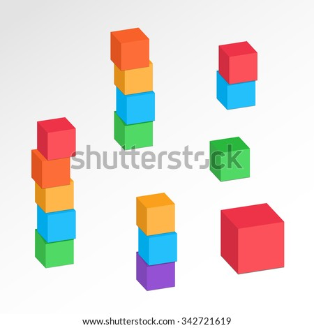 Set of 3d cube combinations. Compositions of tree, five blocks. Association, union, join, building, logo, project, game symbol. Colorful icons with shadow. Infographic elements. Vector - stock vector
