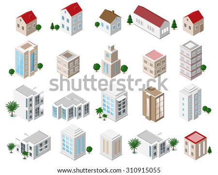 Set of 3d detailed isometric city buildings: private houses, skyscrapers, real estate, public buildings, hotels. Building icons collection  - stock vector