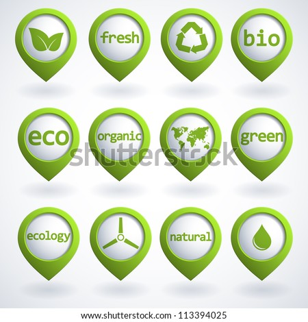 Set of 3d ecology buttons. Vector illustration. - stock vector