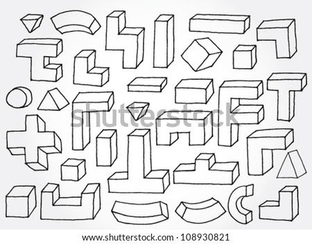 Set of 3D Elements Hand Drawn - stock vector
