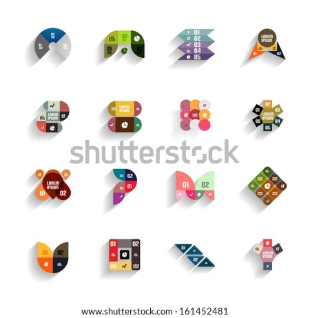 Set of 3d flat geometric abstract icons for mobile apps, business templates, web banners - stock vector