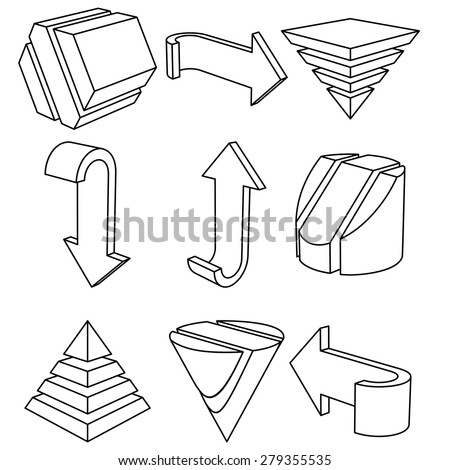 Set of 3D Geometric Shapes and Arrows, Vector Illustration - stock vector