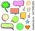 Set of 3d hand drawn icons: check mark, star, heart, speech bubbles. VECTOR. Different colors set - stock vector