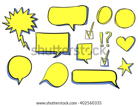 Set of 3d hand drawn icons: check mark, star, heart, speech bubbles. VECTOR. Yellow & blue  - stock vector