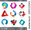 set of 3d icons or abstract designs - stock photo