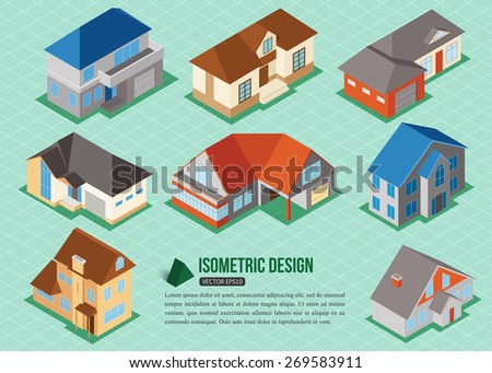 Set of 3d isometric private house icons for map building. Real estate concept. Vector illustration. - stock vector