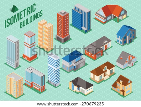 Set of 3d isometric private houses and tall buildings icons for map building. Real estate concept. Vector illustration - stock vector