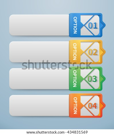 Set of 3d (key shape) banners template with colorful arabesque style movable tag