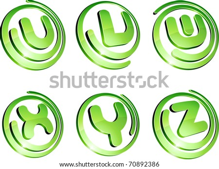 Set of 3d letter vector signs. - stock vector