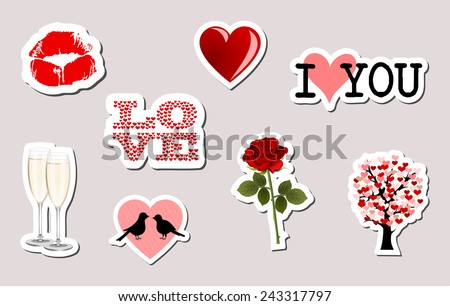 Set of 3d love object stickers kiss lips i love you rose