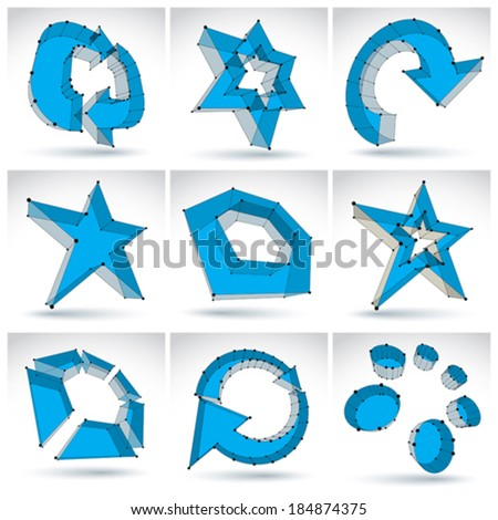 Set of 3d mesh colorful abstract objects isolated on white background, collection of stylish geometric icons, bright dimensional tech symbols with black lines, clear eps 8 vector illustration. - stock vector