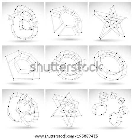 Set of 3d mesh monochrome abstract objects isolated on white background, collection of sketch geometric icons, single color dimensional tech symbols with black lines, clear eps 8 vector illustration. - stock vector