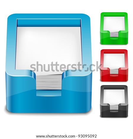 Set of 3D paper tray icons. Transparent EPS10 vector.