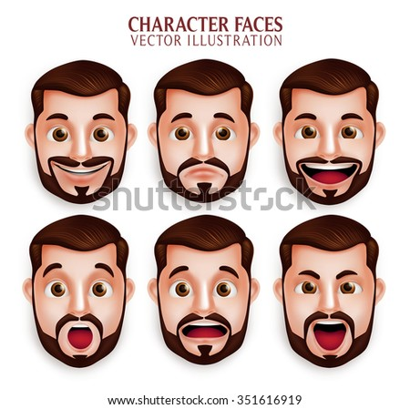 Set of 3D Realistic Beard Man Head with Different Facial Expression Isolated in White Background. Vector Illustration  - stock vector