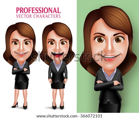 Set of 3D Realistic Professional Woman Character with Business Outfit Happy Smiling in Poses Isolated in White Background. Vector Illustration  - stock vector