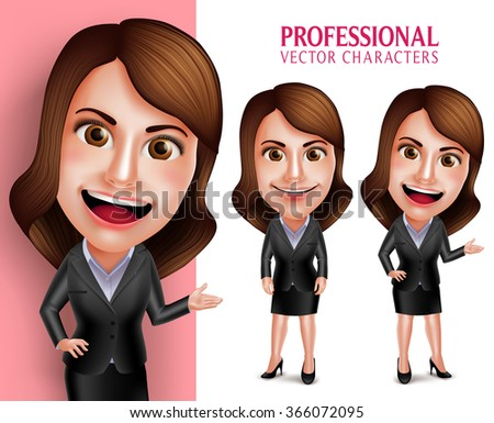 Set of 3D Realistic Professional Woman Character with Business Outfit Happy Smiling while Pointing or Showing in Poses Isolated in White Background. Vector Illustration  - stock vector