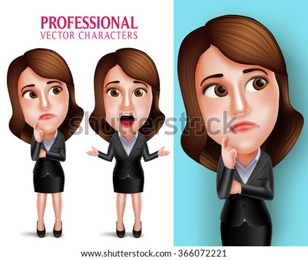 Set of 3D Realistic Professional Woman Character with Business Outfit Thinking or Confused and Talking in Poses Isolated in White Background. Vector Illustration  - stock vector