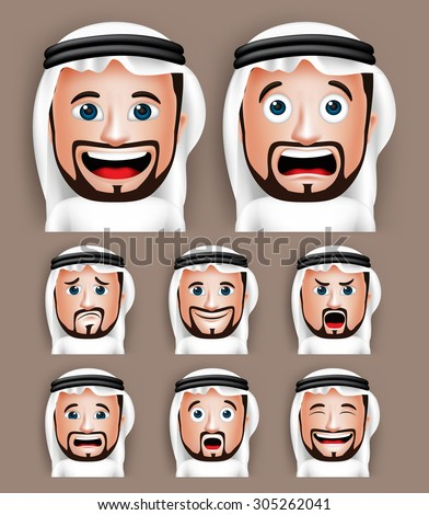 Set of 3D Realistic Saudi Arab Man Head with Different Facial Expressions Wearing Thobe Avatar. Editable Vector Illustration - stock vector