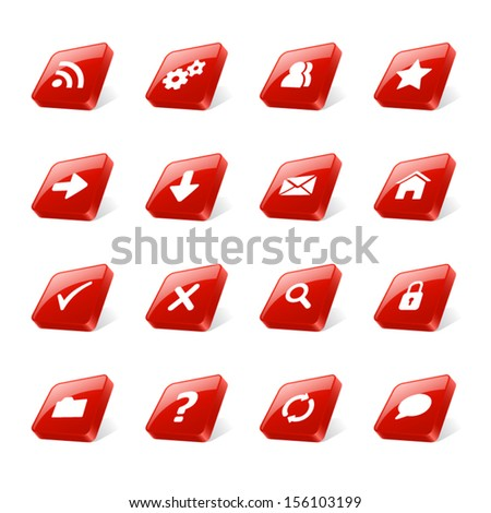 Set of 3d red square buttons with web icons - stock vector
