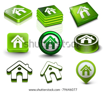 Set of 3d vector home icon design. - stock vector