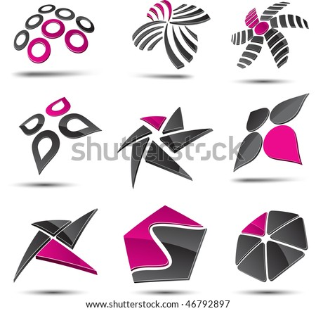Set of 3d vector icons such logos. - stock vector