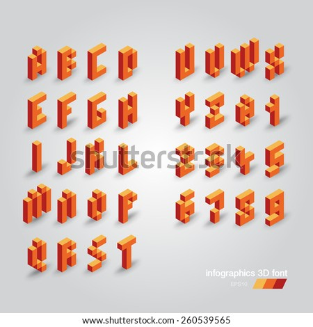 Set of 3d vector pixel alphabet and numbers - stock vector