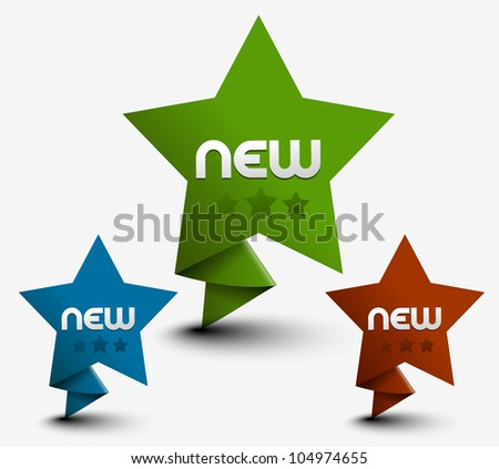 set of 3d vector star for your text used. - stock vector