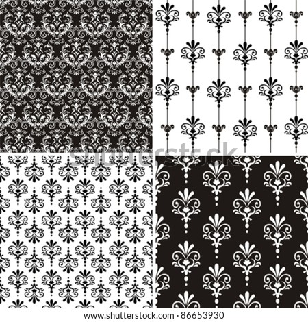 Set of 4 Damask seamless floral pattern. Vintage vector illustration.