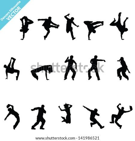 Set of  Dancer Vector silhouettes - stock vector