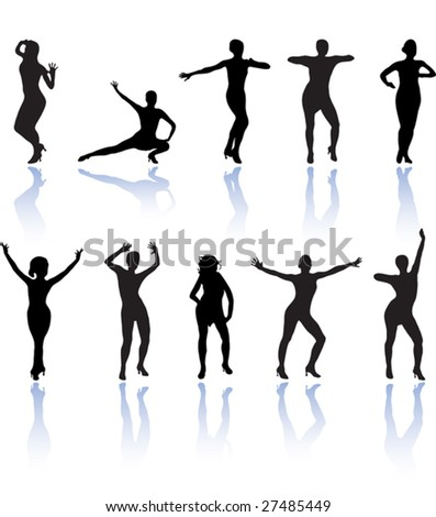 set of dancing women - stock vector