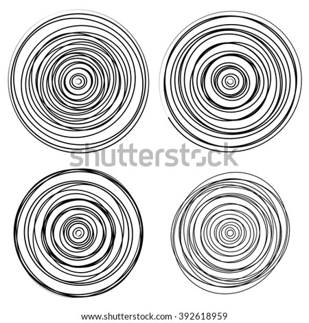 Set of dandom intersecting, tangled circles - Squiggle elements - stock vector