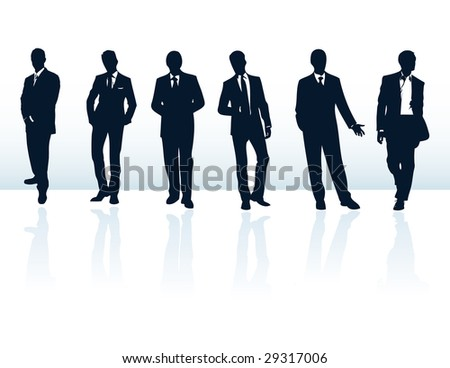 Set of dark blue vector businessman silhouettes in suits. More in my gallery. - stock vector