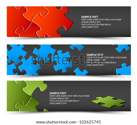 Set of dark puzzle horizontal banners - jigsaw or solution - stock vector