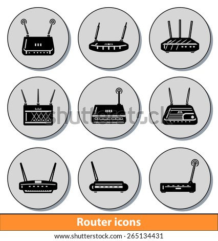 Set of dark router icons with reflection line - stock vector