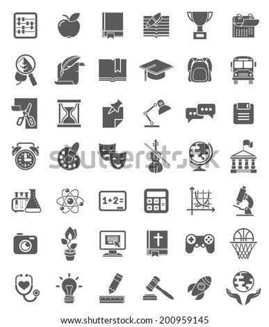 Set of dark silhouette icons of school subjects, educational and science symbols. - stock vector